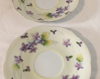 """violets on Tea saucer Japan """"M"""" in Wreath Small Size Gold Trim Bone China set of two"""