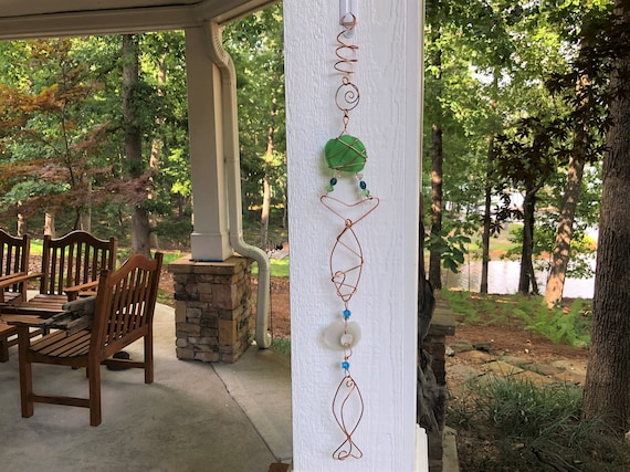 Pink and green sun catcher gift for her outdoor decor summer decor