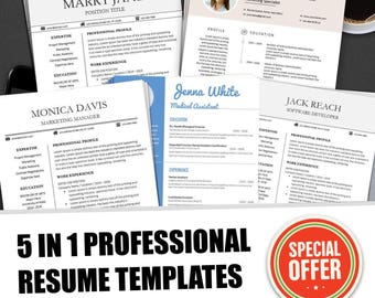 Resume Templates BUNDLE For Ms Word