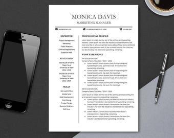 Resume Template for Word | Modern Resume Design Pages | Professional Teacher CV Sample Template | Instant Digital Download | Easter MONICA