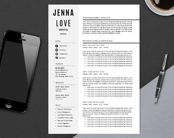 Resume Template with Cover Letter | CV Template | MS Word Design | Instant Download | Teacher Jenna Love