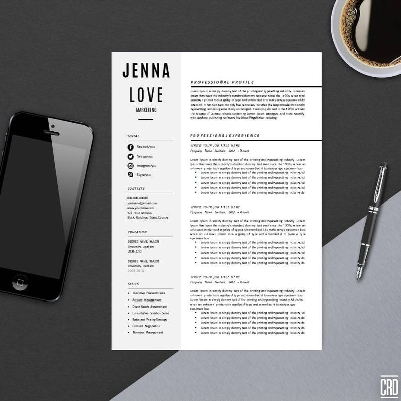 Resume Template With Cover Letter CV MS Word