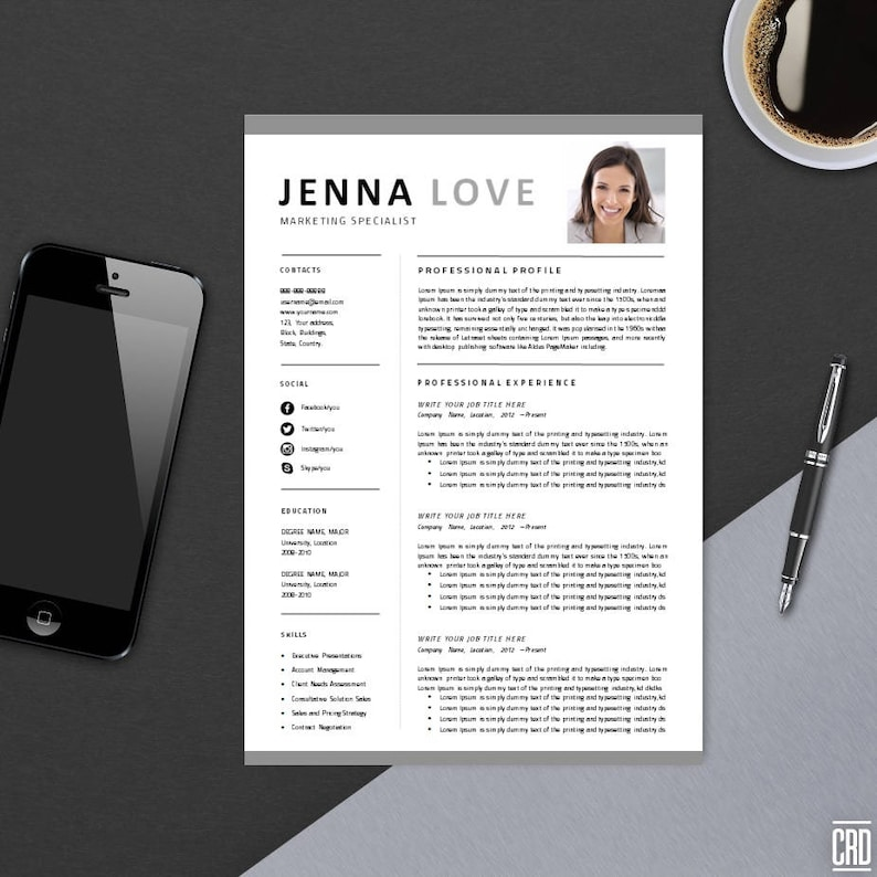 Creative Resume Professional Printable Editable Word Template image 0