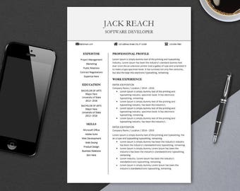 Creative Resume Template for Professionals, MS Word | Modern, Clean Resume Design | CV Template Design | Instant Download | REACH