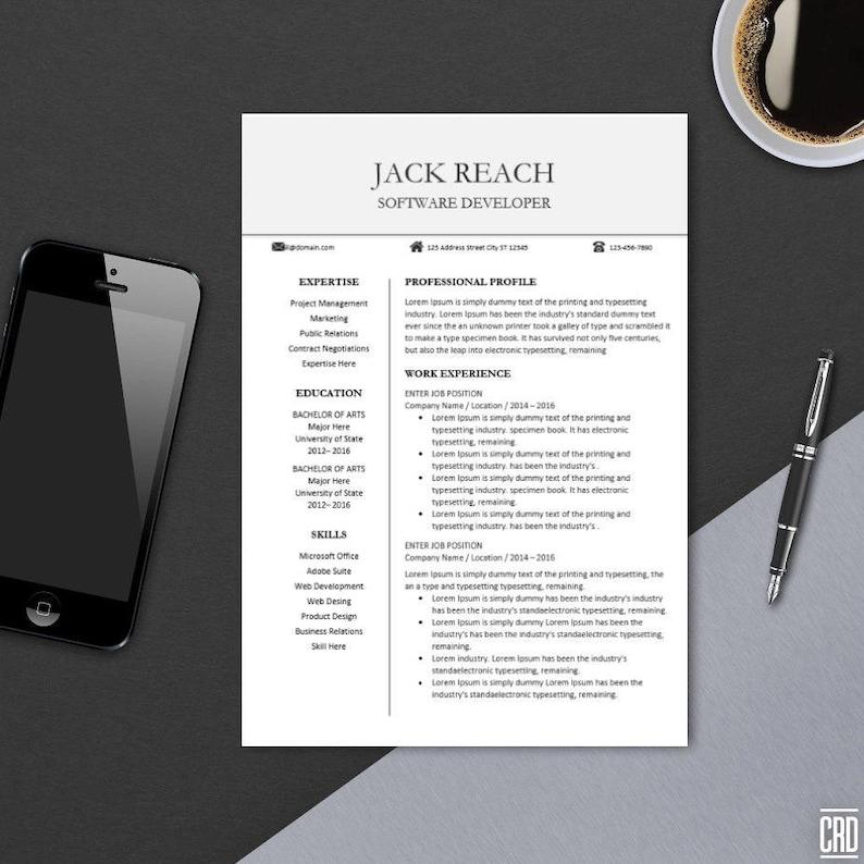 Professional Resume Template Editable Printable Modern CV