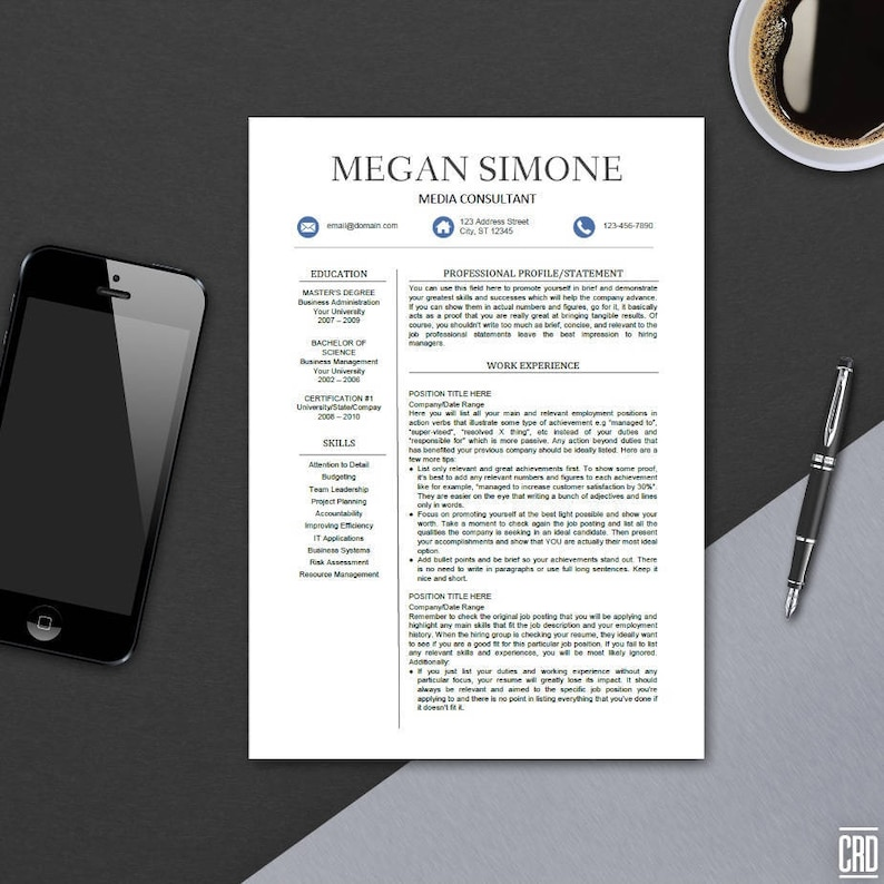 Modern Resume Template for MS Word Professional CV Design | Etsy