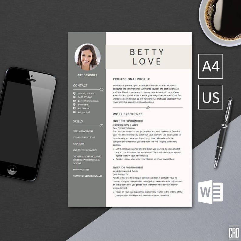 249c933d4 Resume Template Instant Download Best CV Template Cover
