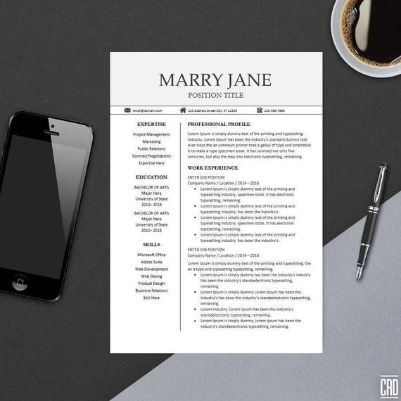 Modern Professional Resume Template For Ms Word Minimal Etsy