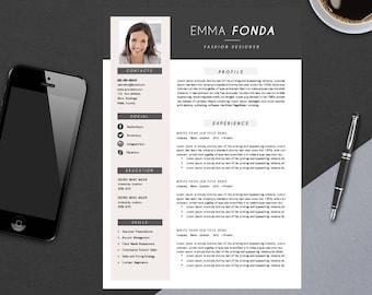 Modern Resume Template with Cover Letter | CV Template | MS Word Design | Instant Digital Download | Emma Fonda