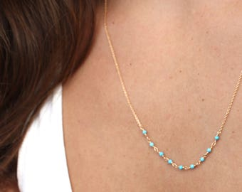 Turquoise Necklace Gold Turquoise Necklace Genuine Blue Turquoise Rosary Turquoise Necklace Delicate Turquoise Necklace Gold Chain Necklace