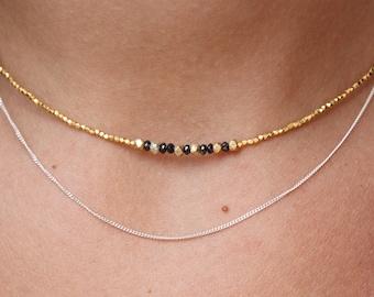Diamond Necklace Black genuine Double Gold necklace - choker Two strand necklace - Dainty Diamond Necklace Chain Necklace silver