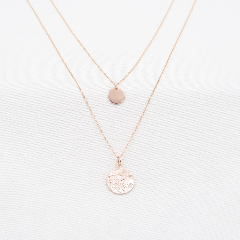 Women Jewelry Gift Minimalist Necklace Double necklace with Hammered Disc Silver,Rose Gold Necklace Charm Disc Necklace Charm Necklace