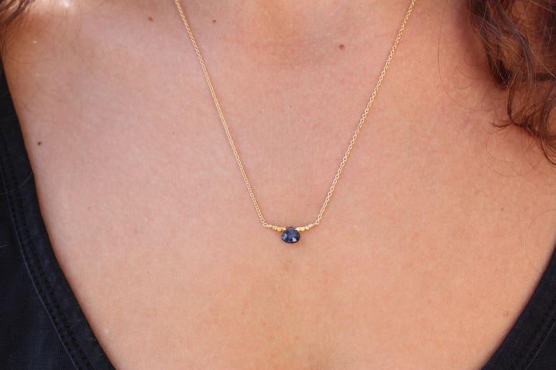 Sapphire Necklace Gold Necklace Pendant Necklace  Genuine Blue Sapphire Dainty Necklace Chocker Necklace-Chain Necklace-Sapphire pendant