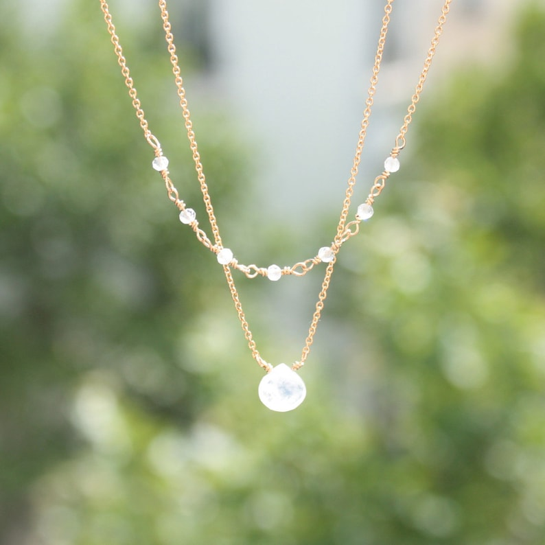 Genuine Moonstone drop pendant moonstone Rosary Moonstone Moonstone Layered Double Necklace Rose or Yellow Gold 14K solid or filled