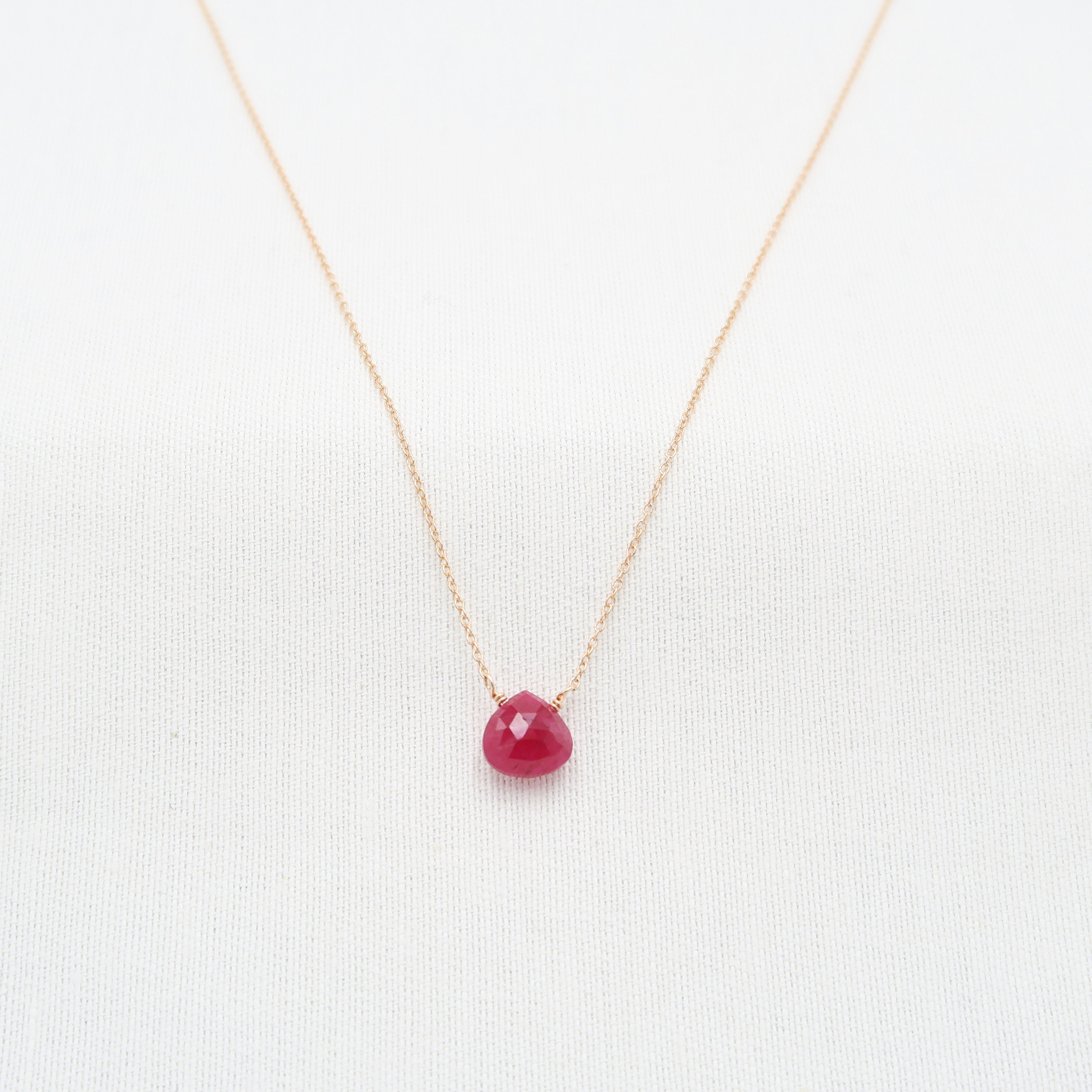 ruby pendant short chain necklace Ruby necklace gold plated chain necklace dainty necklace