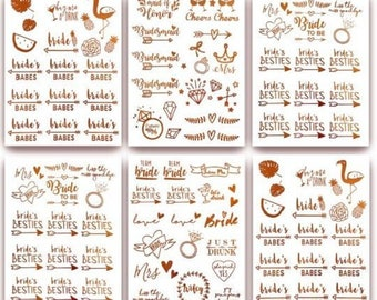 Bachelorette Team Bride Temporary Tattoos 100+ Metallic Tattoos  Bachelorette Party Favors Supplies Gifts Accessories Rose Gold (Zoe)