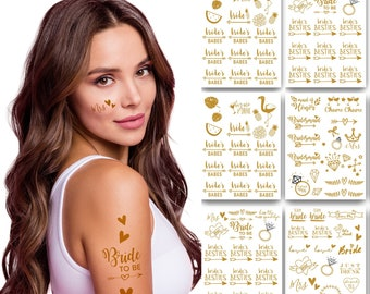 Bachelorette Team Bride Temporary Tattoos 100+ Metallic Tattoos Bride Tribe Bachelorette Party Favors Supplies Gifts Accessories Gold (Zoe)