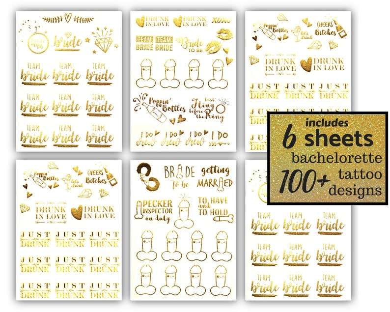 d7aef4d2f1 Bachelorette Team Bride Temporary Tattoos 100+ Metallic Designs Bride Tribe  Bachelorette Party Favors Supplies Gifts Gold Silver