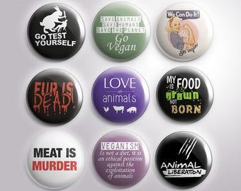 Veganism Buttons, Custom Pins, Badges, Pinback, Vegan, Vegetarian, Meat is Murder, Love Animals, Antispecism, Eat Plants, Respect Life