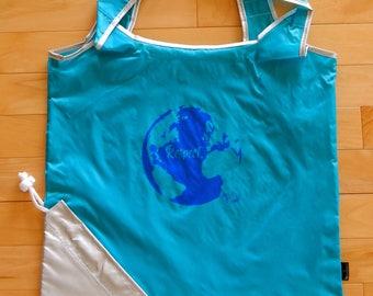 Teal Packable Reusable Shopping Bag