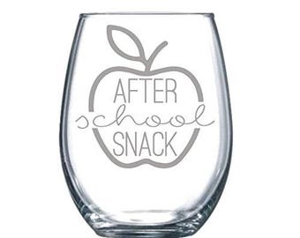 After School Snack Funny Laser Etched Stemless Wine Glass - Perfect Gift  - 15oz
