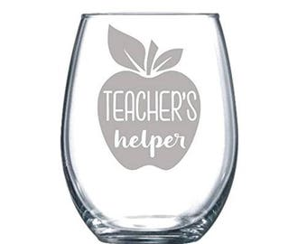 Teachers Helper Funny Laser Etched Stemless Wine Glass - Perfect Gift  - 15oz