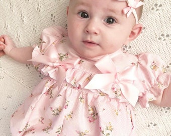 959deedb09326 Hannahs Boutique CUSTOM All Sizes Newborn - 4-5 years Baby Girl Baby Pink  Floral Ruffle Traditional Romper. Easter