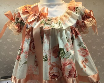 Hannahs Boutique CUSTOM All Sizes Newborn - 2-3 years Baby Girl Peach Floral Traditional Frilly Dress. Easter, Party, Baby Shower. Free p&p