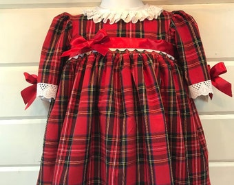 fbfe2860427b Hannahs Boutique CUSTOM All Sizes Newborn - 5-6 year Baby Girl Vintage  Spanish Red Tartan Traditional Frilly Dress. Handmade.