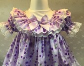 Hannahs Boutique CUSTOM All Sizes Newborn - 2-3 years Baby Girl Lilac Floral Traditional Frilly Dress. Easter, Party, Baby Shower.