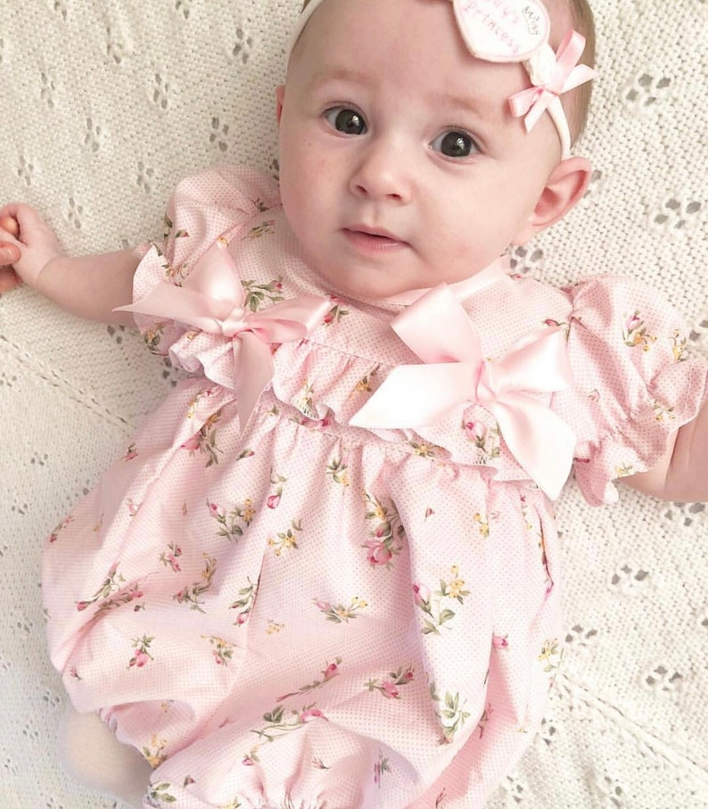50b45053c Hannahs Boutique CUSTOM All Sizes Newborn - 4-5 years Baby Girl Baby Pink  Floral Ruffle Traditional Romper. Easter