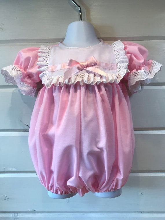 3361b7fe5 Hannahs Boutique CUSTOM All Sizes Newborn - 4-5 year Baby Girl Vintage  Spanish Pink Broidery Anglais Frilly Collar Romper Bubble. Handmade.