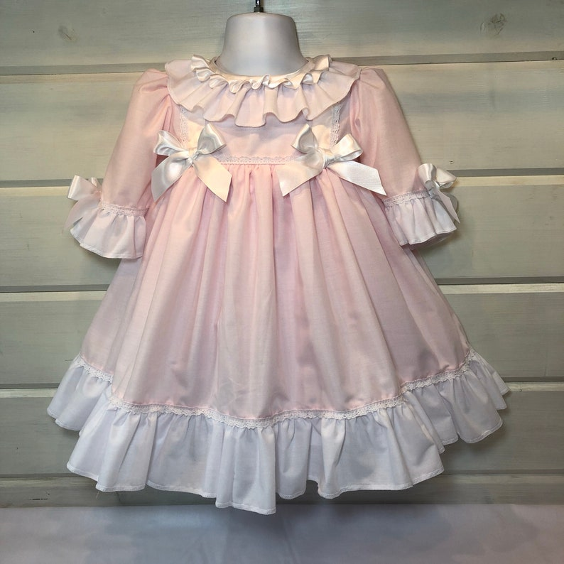 96a94044d Hannahs Boutique CUSTOM All Sizes Newborn - 5-6 year Baby Girl Vintage  Spanish Pink Traditional Frilly Dress. Handmade.