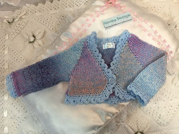 Hannahs Boutique Newborn Baby Girls Hand Knitted Blues Spanish Etsy