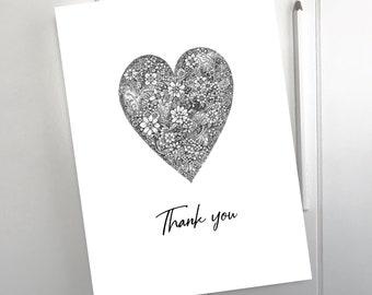 Thank you - A5 Heart Card
