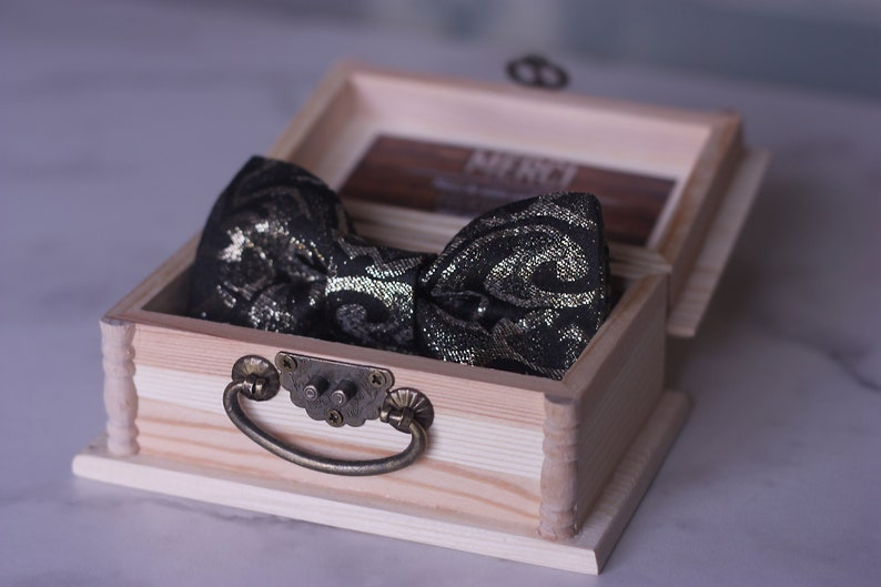 Collection Box Le Noeud High End Black And Gold Bow Tie For Etsy