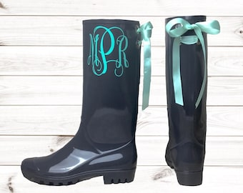 Personalized Gray Rubber Rain boots with bows , Mothers day gift , Rain boots , Monogram , Rubber Rain Boots , Boots , Mud Boots