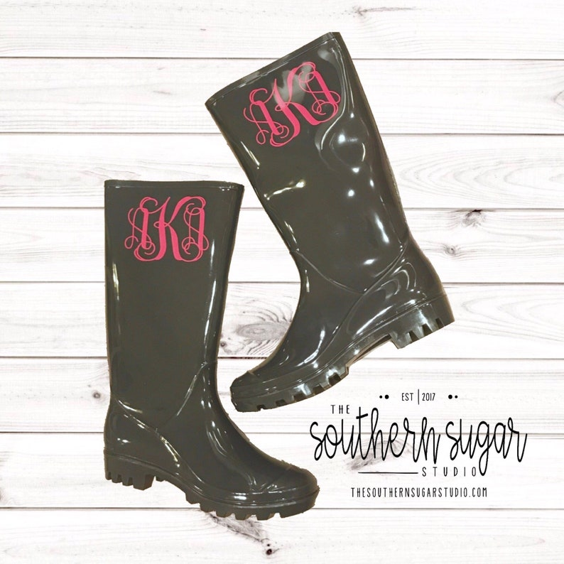 Monogramed Gray Rain boots  Rain Boots Personalized rain image 0