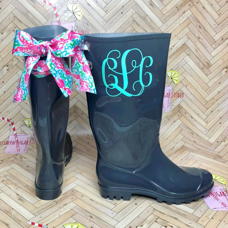 591a3c19be637 Monogrammed Gray rain boots with Lilly Inspired bow , Rain boots , Monogram  , Rubber Rain Boots , Lilly pulitzer , Personalized rain Boots