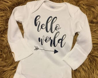 Hello world new baby onesie