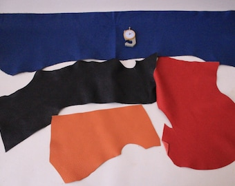 Black Blue Red Leather Thin Genuine Italian Leather Big Pieces Scraps Remnants Handcrafts
