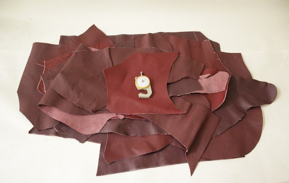 Burgundy leather pieces genuine leather piece leather for tassels leather scraps