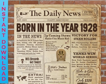 1959 Birthday NEWSPAPER Poster for 60th Birthday 1959 Facts