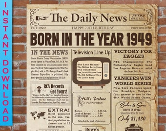 1949 Birthday NEWSPAPER Poster For 70th