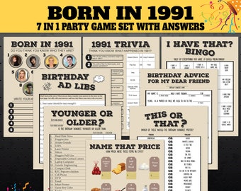 Printable Set 30th Birthday Party Games Born in 1991 30th Birthday Trivia Games 1991 Price is Right Name the Celebrity Yonger or Older