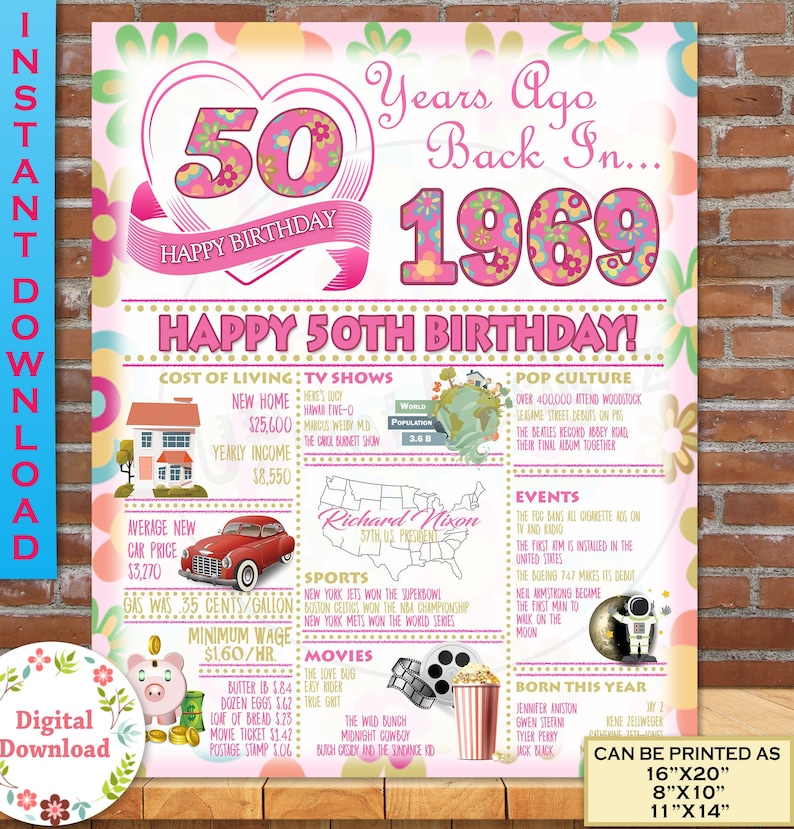 1969 Birthday Poster 50th Gift For Her Adult
