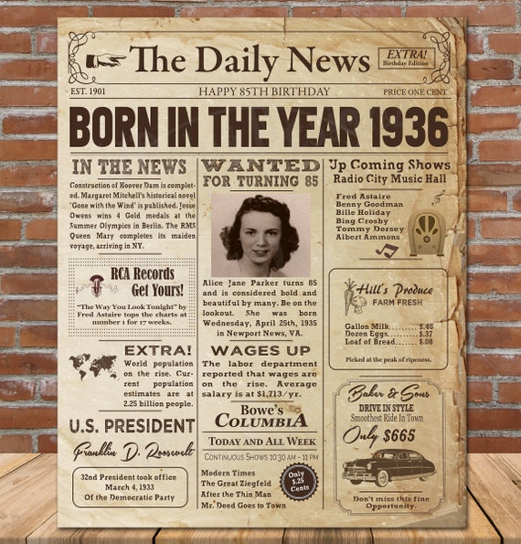 85th Birthday Gift for Women 85th Birthday Newspaper Poster Back in 1936 Poster Personalized Birthday Sign 85th Birthday Decorations