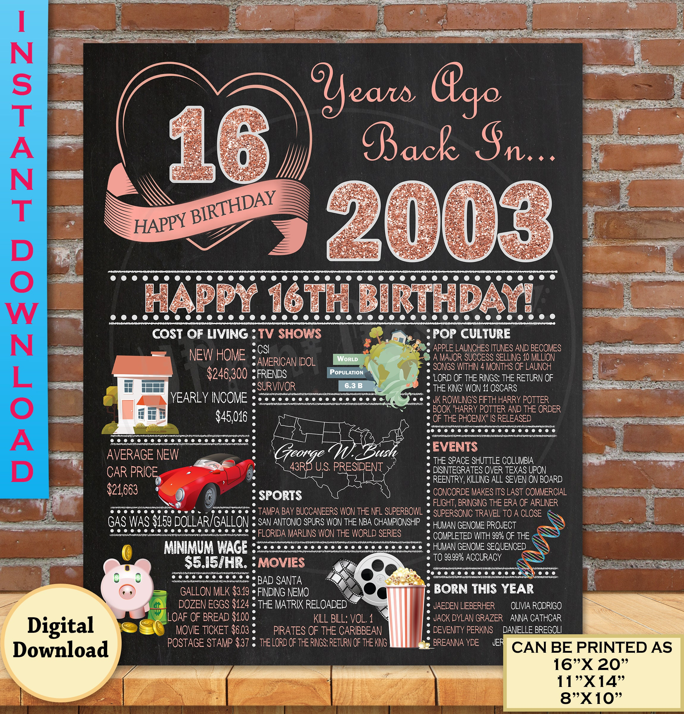 16th Birthday Poster, 2003 ROSE GOLD 16th Birthday Sign, Sweet 16th  Birthday Party Decoration, 16th Birthday Chalk Board Style | DIGITAL