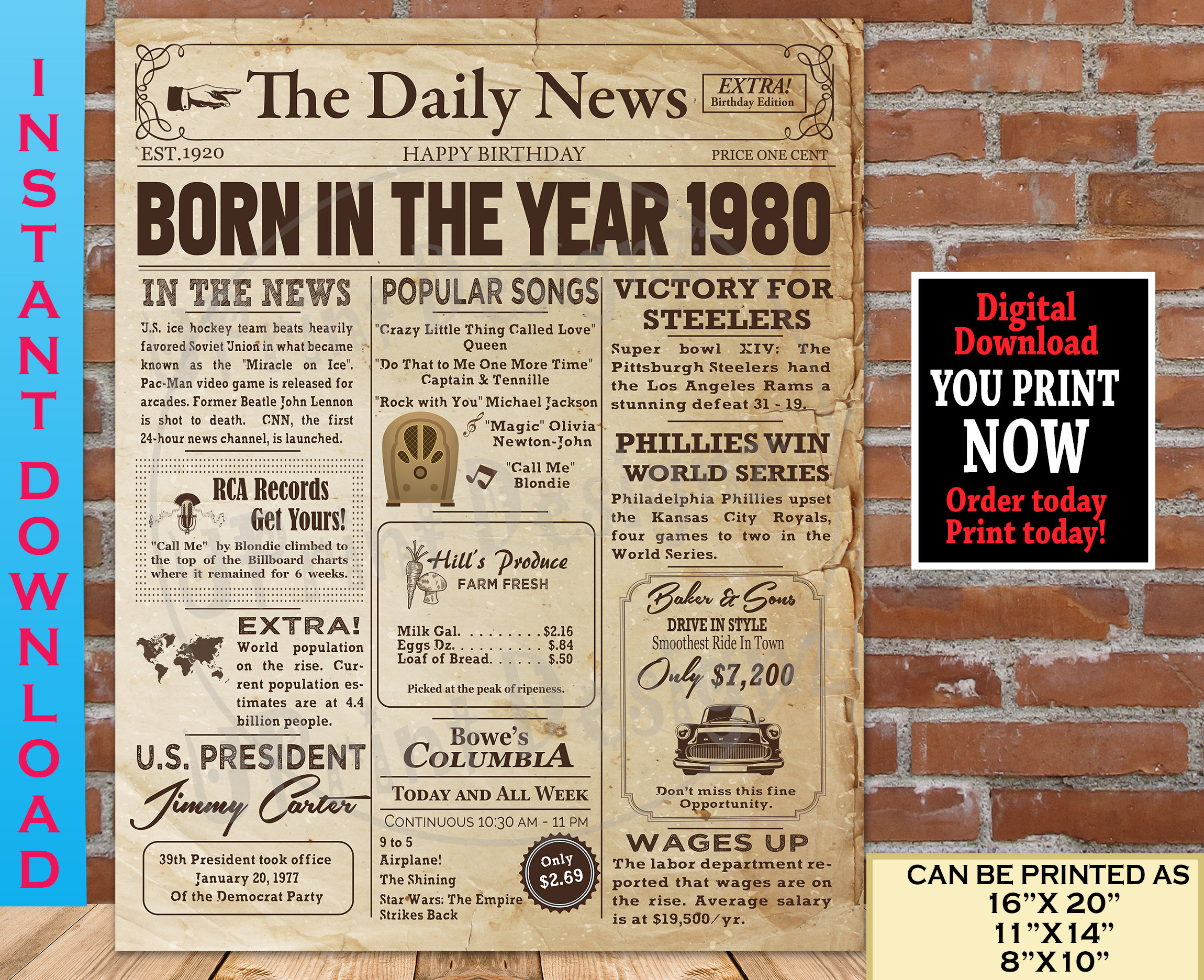 40th Back In 1980 Personalised Photo Birthday Gift Poster Print Newspaper 37