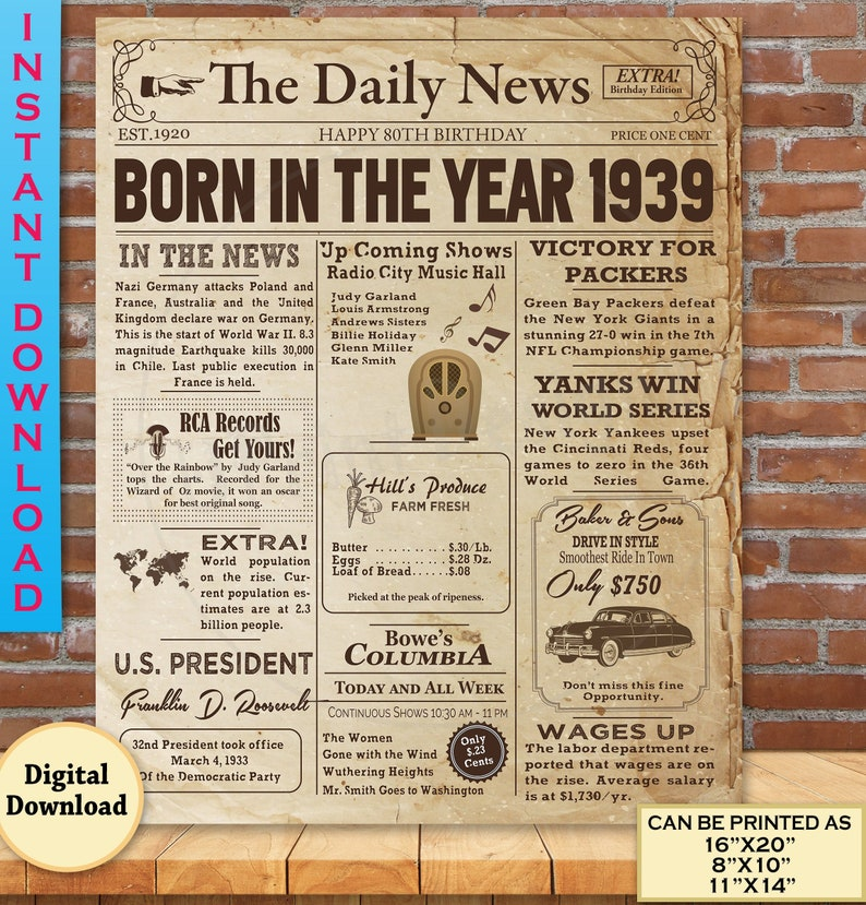 image about Free Printable Birthday Newspaper named 80th Birthday NEWSPAPER Poster Social gathering Decoration 1939 Info for 80th Grownup Birthday Reward Genuine Seem Poster Instantaneous Obtain